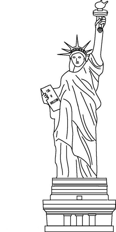 coloring book page of statue of liberty cliparts co