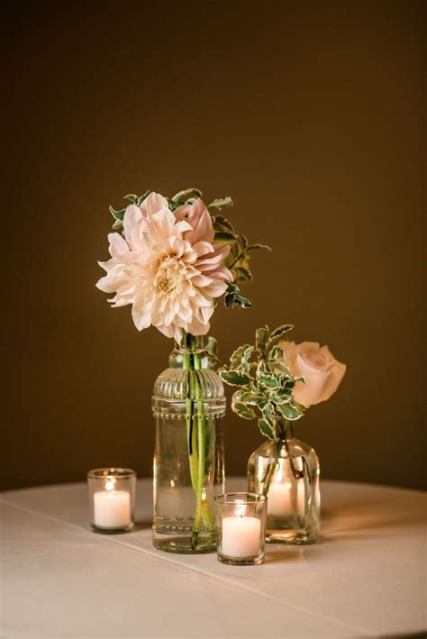 vintage clear glass bud vases  blush dahlias roses
