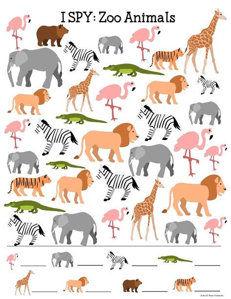 printable animal activity book i spy printable for kids zoo animals school time