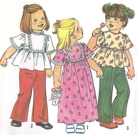 pattern dress toddler 1970s toddlers girls dress or top and pants vintage sewing