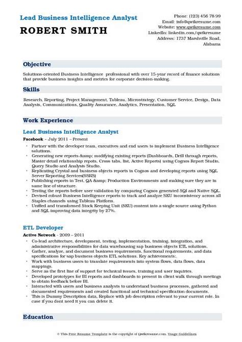 Business Intelligence Resume by Business Intelligence Analyst Resume Sles Qwikresume