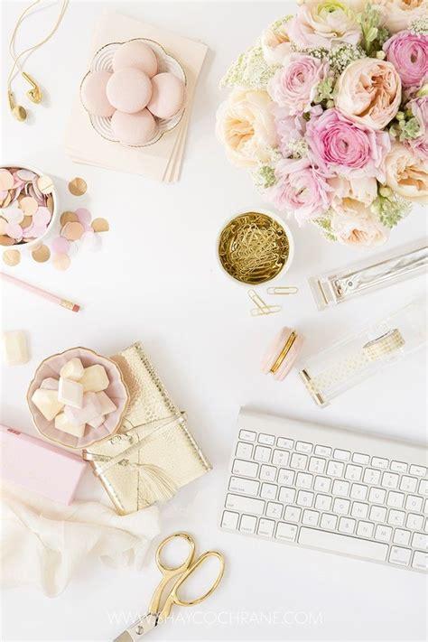 blush pink desk l blush pink styled desktop stock image by shay cochrane