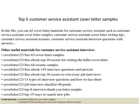 top 5 customer service assistant cover letter sles