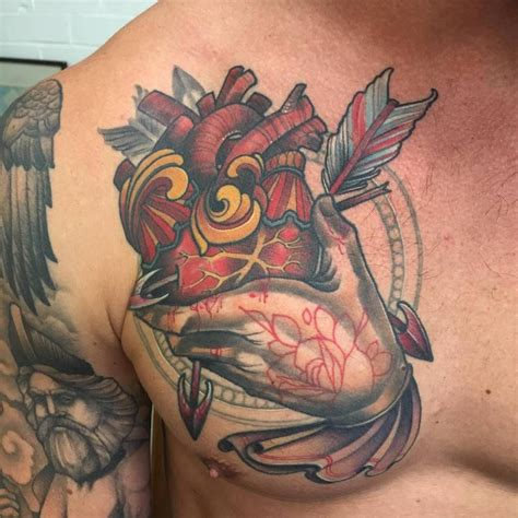 right chest tattoo designs neotraditional style on the right chest