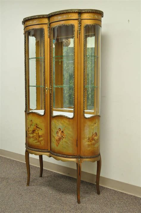 Glass Display Cabinet Sale by Louis Xv Style Vernis Martin Curved Glass Vitrine