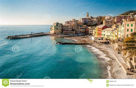 genoa sea panoramic view of bogliasco small sea near genoa