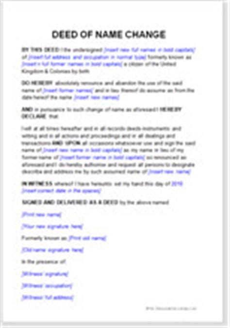 deed poll name change letter template free deed poll template to change your name