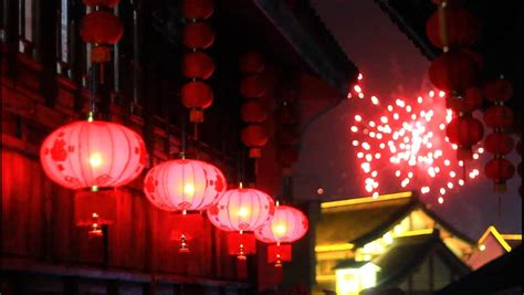 lanterns and firecrackers a new year story asian lanterns and fireworks 動画素材 3900125
