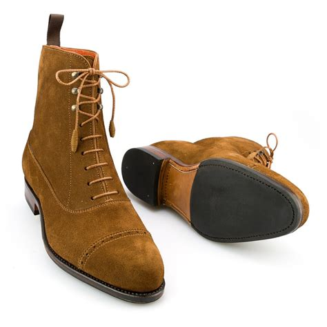 balmoral captoe boot in snuff suede