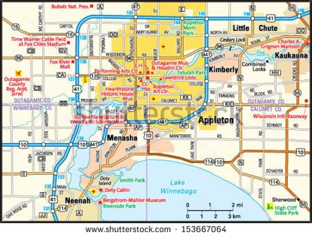 map of appleton wi appleton wisconsin area map stock vector 153667064
