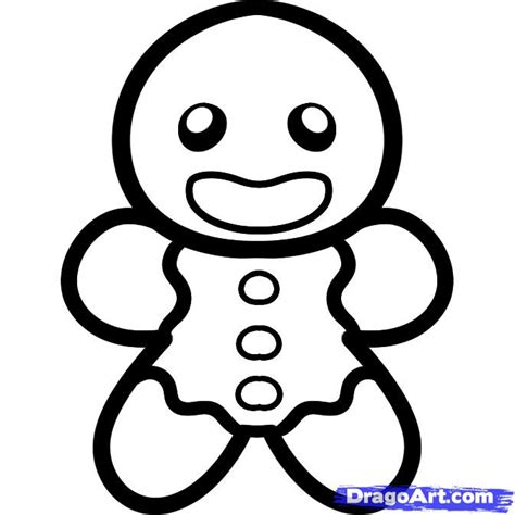 How To Draw A Gingerbread Man For Kids Step By Step Christmas Stuff Seasonal Free Online Easy Drawings For Toddlers