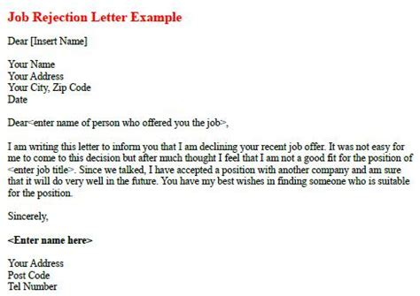 Employment Rejection Thank You Letter Rejection Letter Exle Forums Learnist Org