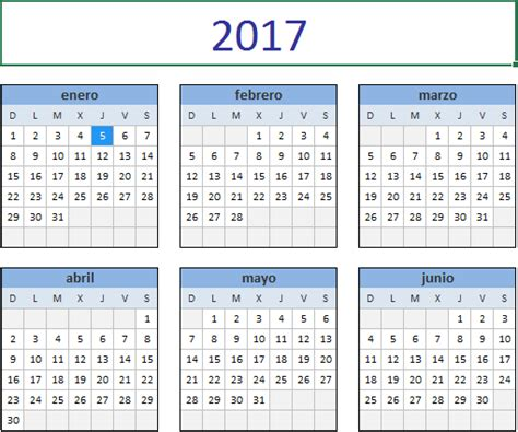 descarga el calendario 2017 en excel excel total