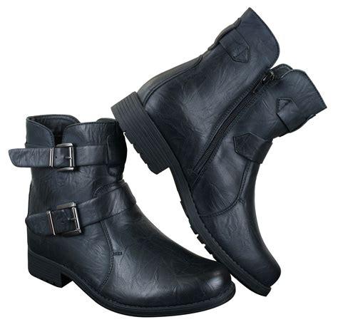 mens ankle boots black brown buckle belt zip biker rock