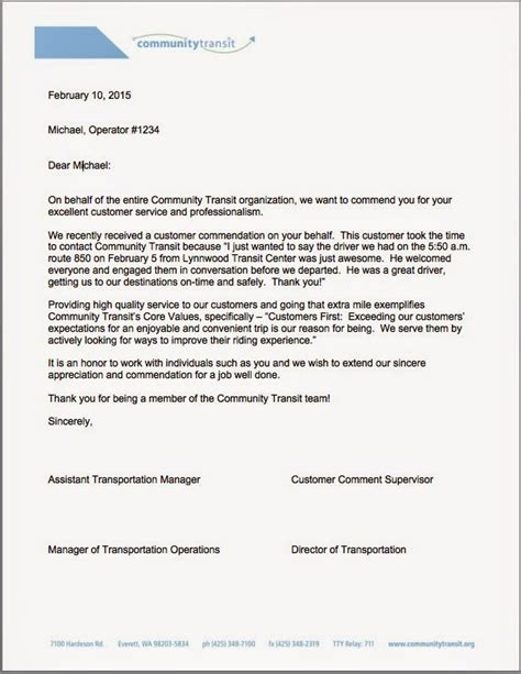 Service Letter For Driver Community Transit How To Commend Your Driver