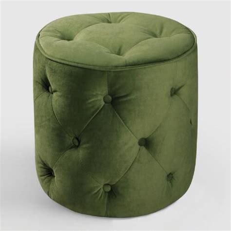 Green Tufted Velvet Round Ottoman World Market Cost Plus Ottoman
