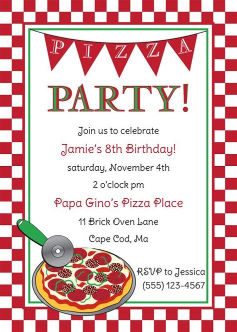 Pizza Party Birthday Invitation By Anchorbluedesign On Etsy Pizza Invitation Template