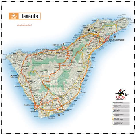 printable map tenerife canary islands maps cicar