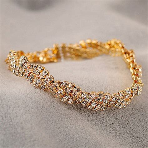 gold silver rhinestone chain bracelet
