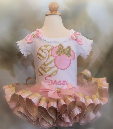 Set Mimi Lanscape Pink Gh birthday tutu pink and gold minnie mouse second birthday tutu