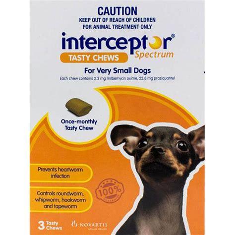 interceptor for dogs interceptor dogs 9lbs 4kg 3 chewables discount flea tick treatments