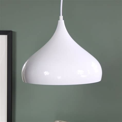 White Metal Dome Pendant Ceiling Light Fitting Melody Fitting Ceiling Light