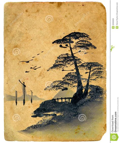 Beach House Plans by Japanese Painting Old Postcard Stock Illustration