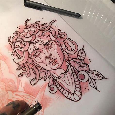 new school medusa tattoo new school medusa gorgona with necklaces tattoo design
