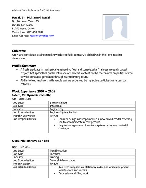 Resume Template Word For Fresh Graduate fresh graduate resume sle format microsoft word resume