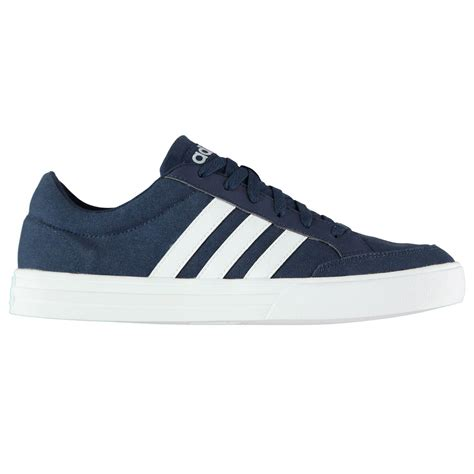 adidas mens vs set canvas trainers lace up shoes tonal stitching casual textile ebay