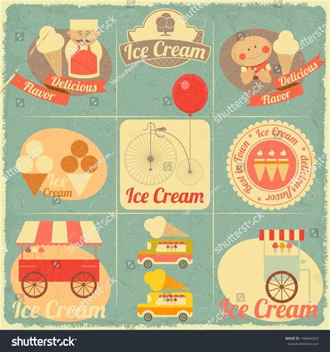 vintage menu design elements vector set ice cream dessert vintage menu cover stock vector