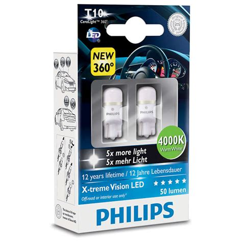 lade auto philips bec led philips w5w xtreme vision 12v 1w 4000k 2 bucati