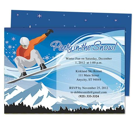 Apple Pages Templates Birthday Cards by Snowboard Birthday Invitation Templates Printable