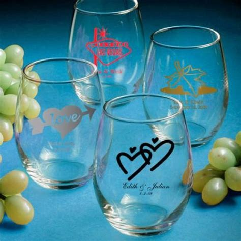 wedding favors wine glasses personalized stemless wine glasses wedding favors 1180875