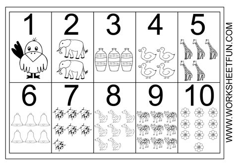 free printable numbers 1 to 10 picture number chart 1 10 free printable worksheets