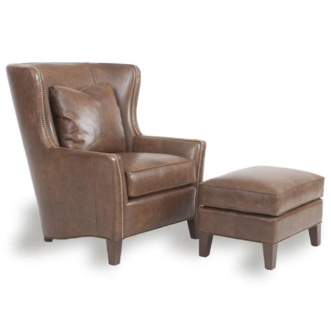 Chairs Ottomans Accent Chairs And Ottomans Sb Wingback Chair And Ottoman By Smith Brothers Wolf Furniture