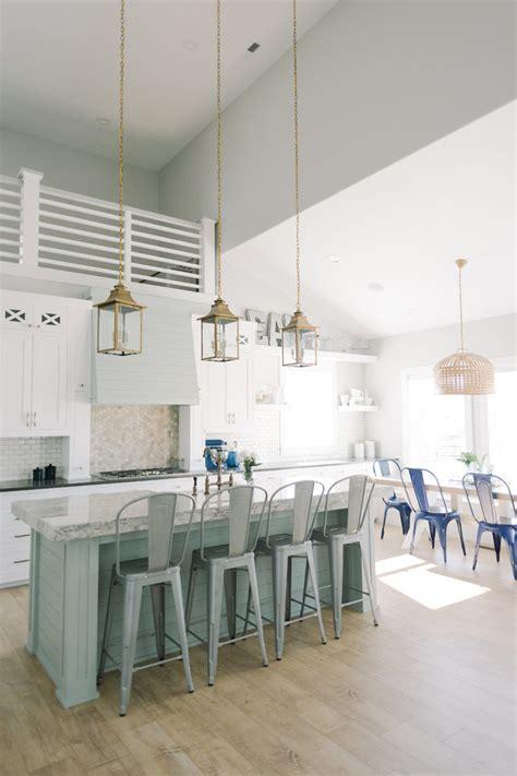 Farmhouse Island Lighting Coastal Farmhouse Kitchen Style With White Cabinets Farmhouse Dining