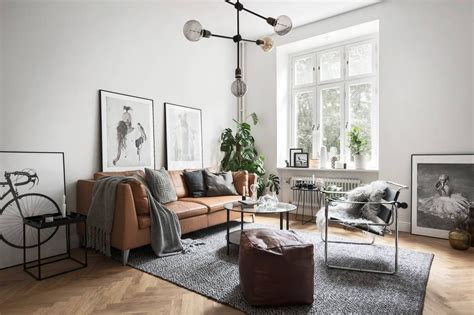 Living Room Ideas With White Leather Couches by Grey Scandinavian Living Room With A Leather Sofa
