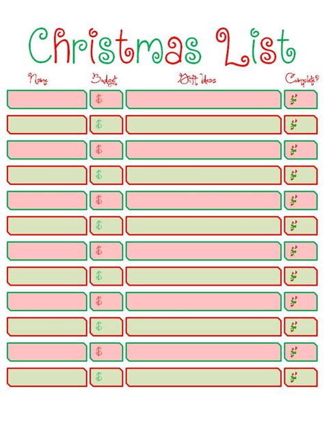 printable christmas list kids christmas list to santa template search results