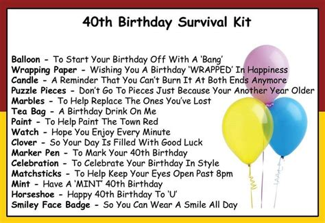 40th Birthday Verses For Cards 40th Birthday Kit Gifts Pinterest 40 Birthday And