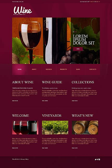 Best Website Templates 2014 Entheos Free Wine Website Templates