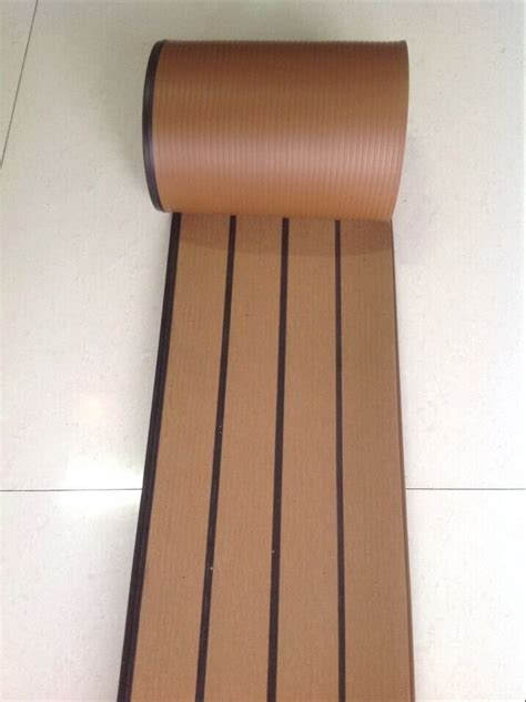 synthetic wood flooring 12 5 meter of synthetic wood teak boat marine waterproof pvc190 5mm flooring decking with black