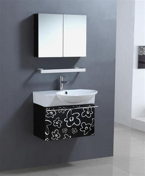 Black And White Bathroom Vanity 30 Inch Wall Mount Single Sink Bathroom Vanity In Black And White Uvlf315430