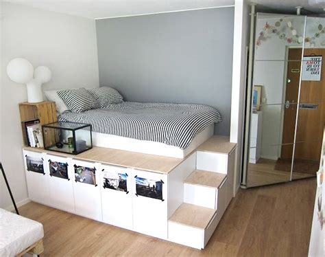 DIY Platform Bed from IKEA Kitchen Cabinets   BeesDIY.com