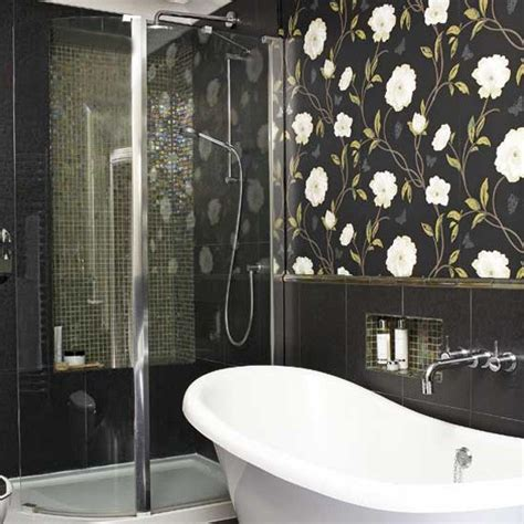 Bathroom With Wallpaper Ideas | statement bathroom wallpaper bathroom tile ideas