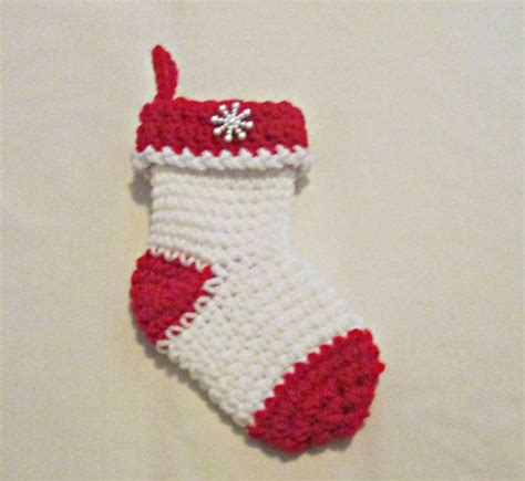 Stocking Gift Card Holder - crocheted christmas stocking gift card holder white red