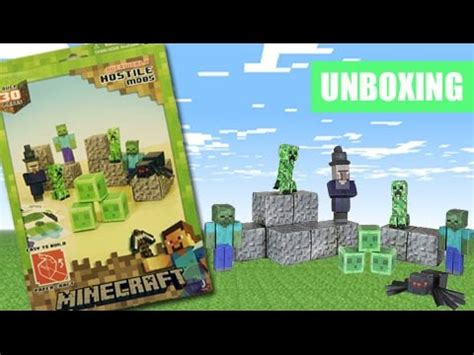 Minecraft Papercraft Hostile Mobs Set - minecraft papercraft hostile mobs set unboxing