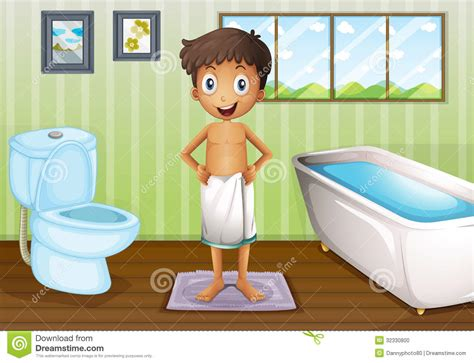 a boy inside the bathroom stock photo image 32330800