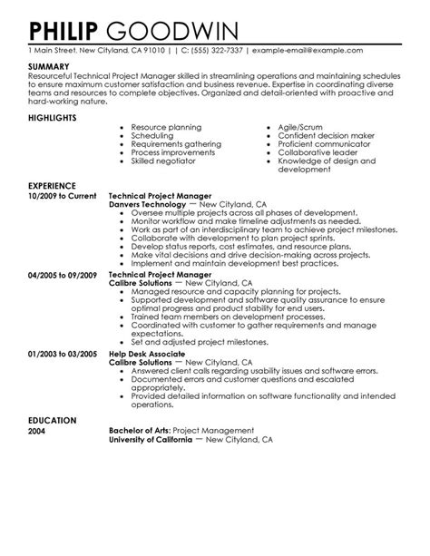 technical project manager resume format best technical project manager resume exle livecareer