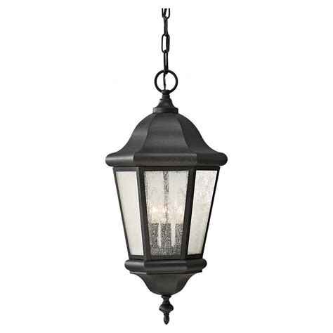 feiss martinsville 3 light black outdoor pendant ol5911bk